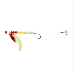 White/Chartreuse/Red Single-Treble Whip Tail Crawler Harness